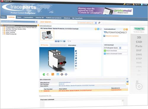 AutomationDirect is now using the TraceParts Internet service to provide 3D product models for controls engineers and designers