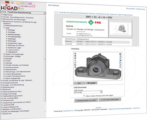 Availability of HiCAD TraceParts, a comprehensive online library of purchased and standard parts