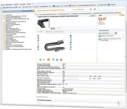 Choosing an energy chain for circular and spiral motions via the TracePartsOnline.net portal