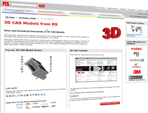 A comprehensive library of certified 3D and 2D CAD models of electromechanical components