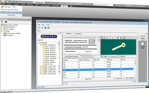 TraceParts announced that its 3D library of suppliers and standard parts catalogs has been certified for Autodesk Inventor 2012