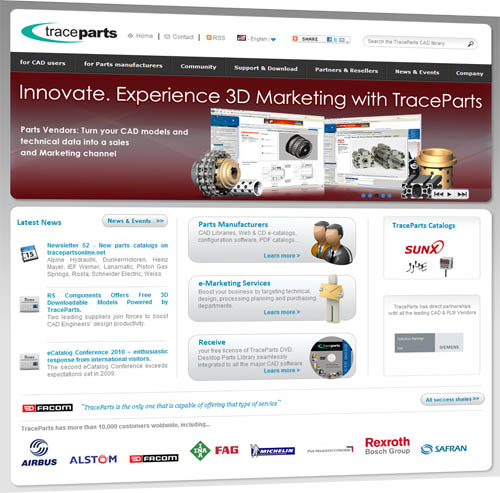 Sixth major release of the corporate Web site www.traceparts.com