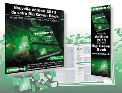 The email campaign and the promotional banner for the Big Green Book entrusted to TraceParts by Norelem