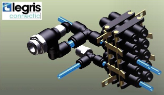 This assembly uses various Legris components for industrial fluids (metric tubing): modular plug-in connector, flow regulator and tees