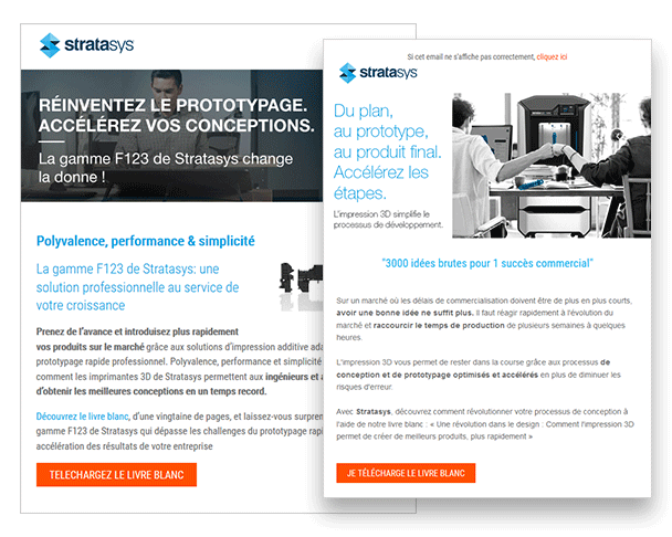 Stratasys utilse les campagnes email marketing de TraceParts