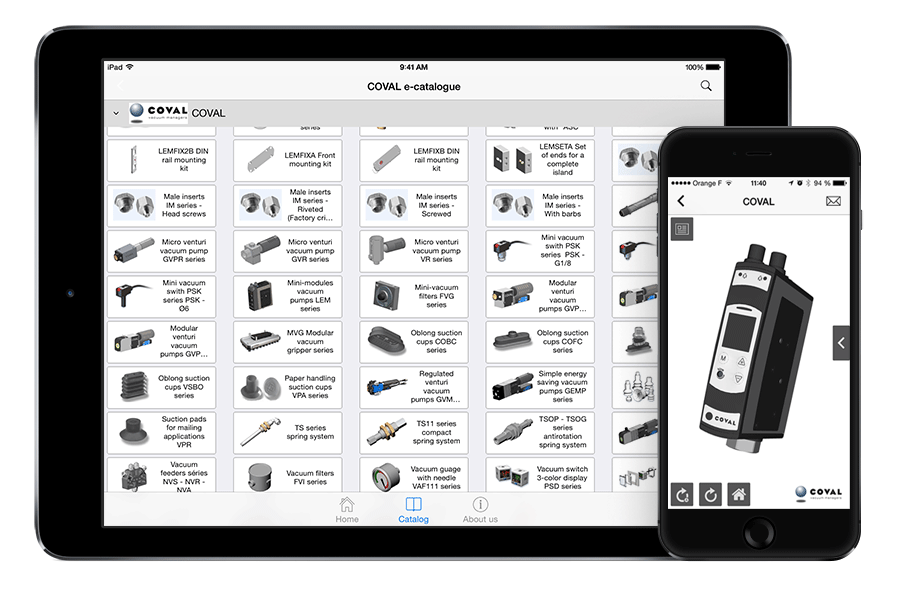 Application Mobile COVAL - Catalogues CAO 3D