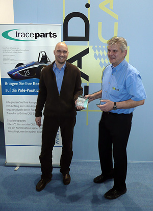 Stefan Kolb, Online Marketing Manager at TraceParts GmbH, presents the new TraceParts 2011 DVD along with Albert Ranig from CAD.de