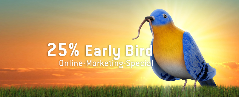 25% Early Bird Online-Marketing-Special