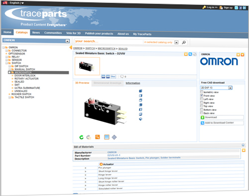 30,000 connectors, relays, sensors and switches available for free download from TracePartsOnline.net